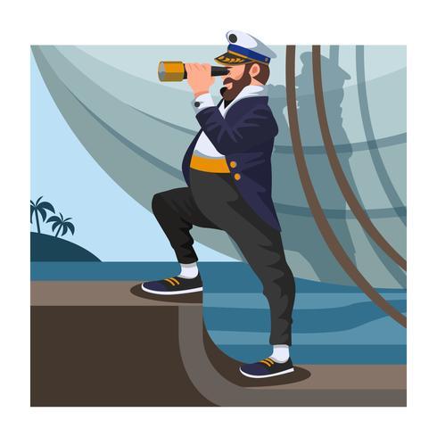 Seemann mit Fernglas vektor