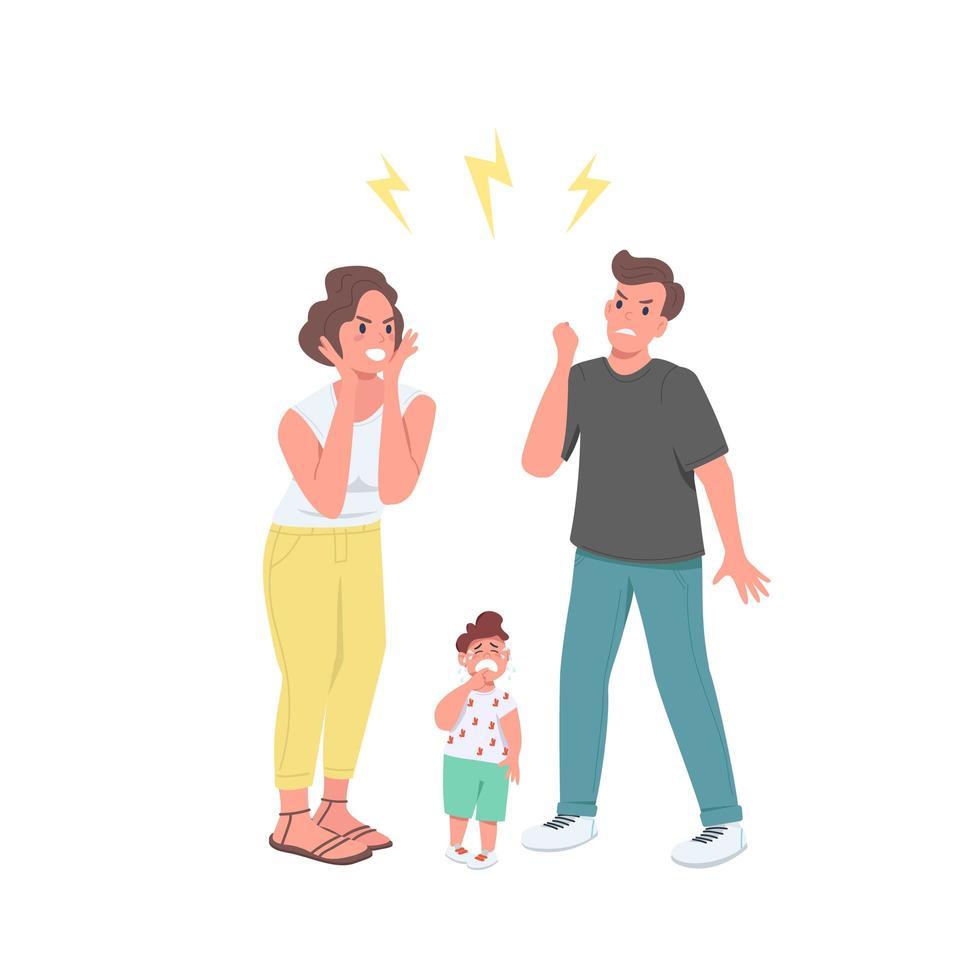 argumenterar föräldrar platt färg vektor ansiktslösa karaktärer