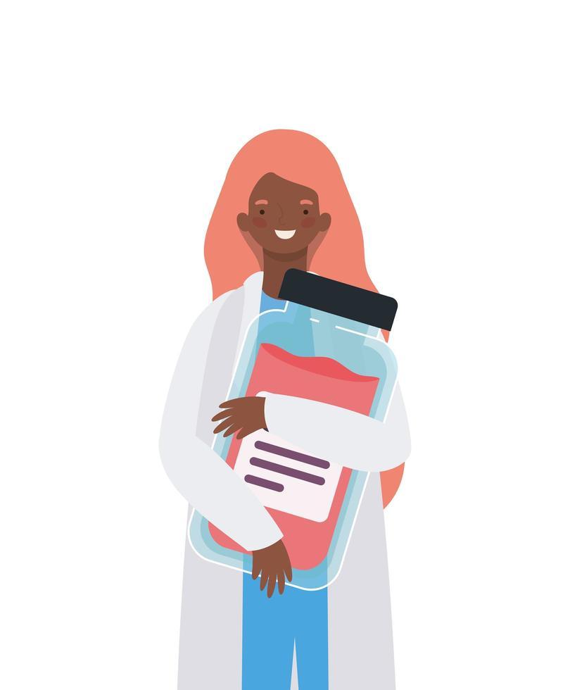 kvinna läkare med uniform och medicin burk vektor design