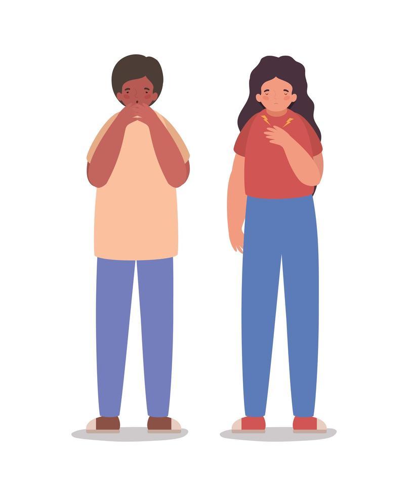 flicka och pojke avatar med trötthet och torr hosta vektor design