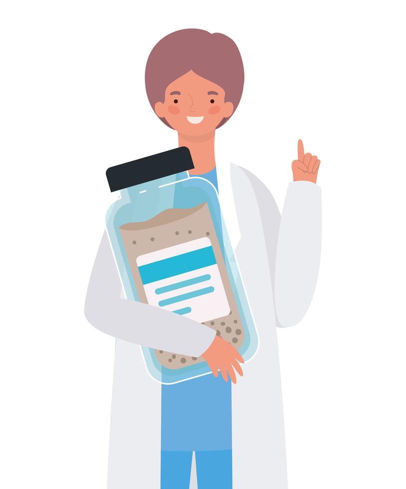 man läkare med uniform och medicin burk vektor design
