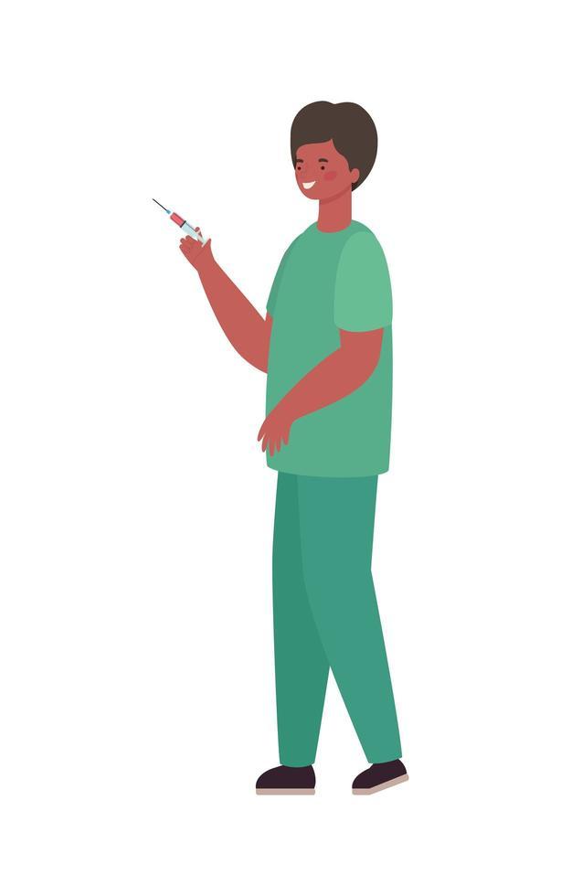 man läkare med uniform och injektion vektor design