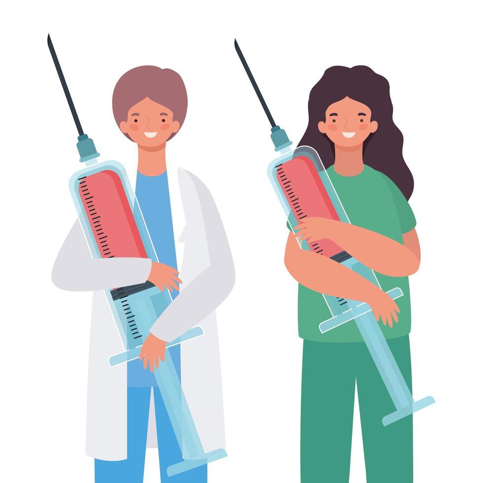 kvinna och man läkare med uniform och injektion vektor design