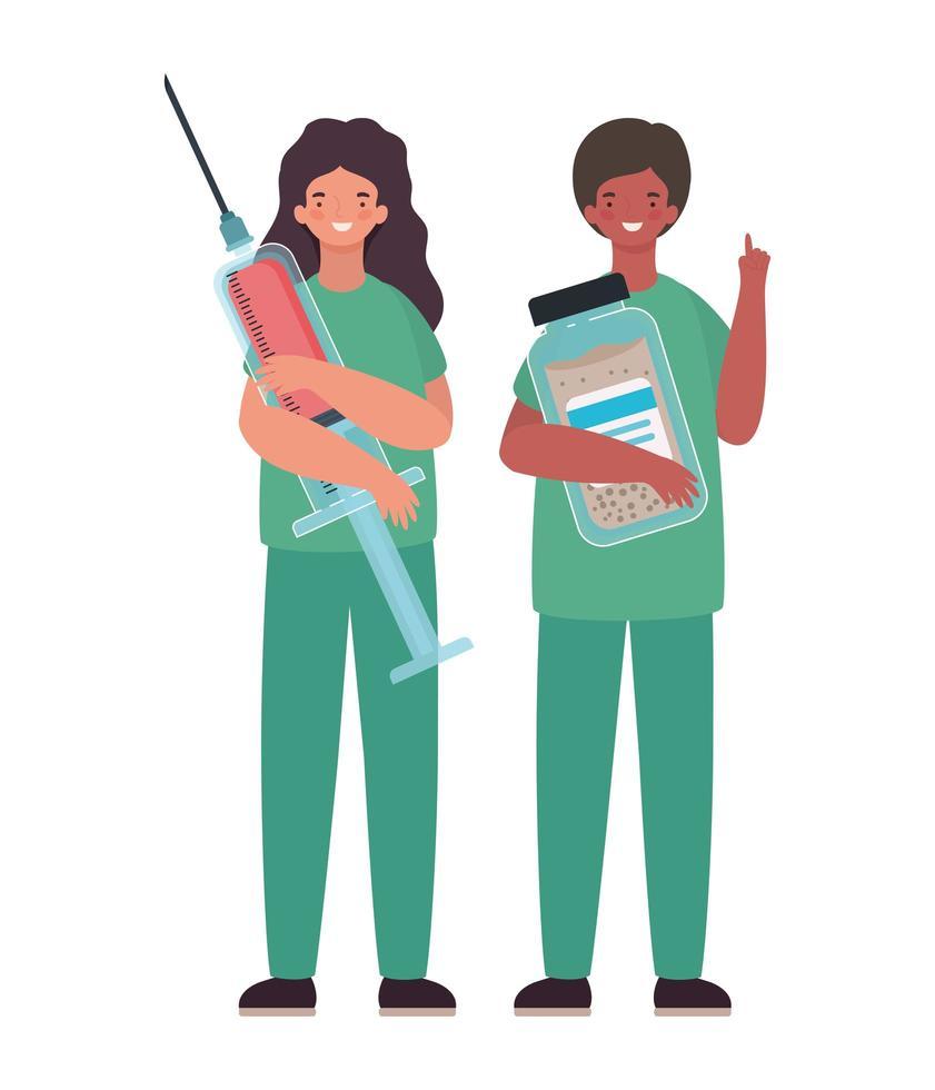 kvinna och man läkare med enhetlig injektion och medicin burk vektor design