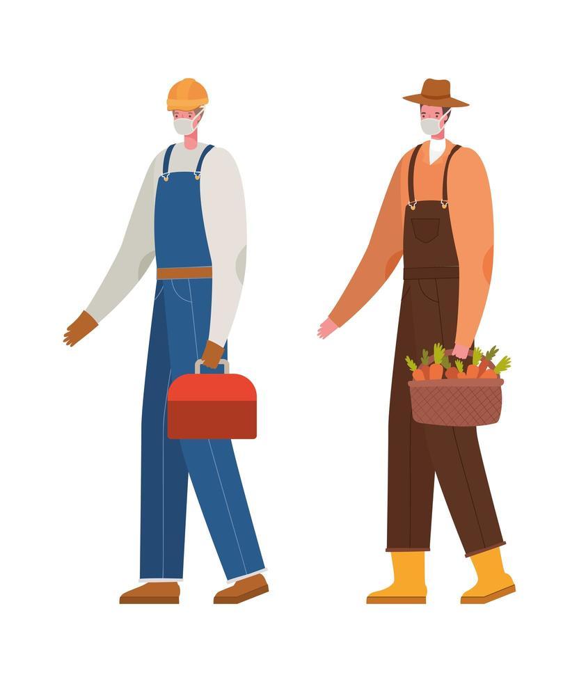 männlicher Gärtner und Konstrukteur mit Maskenvektordesign vektor