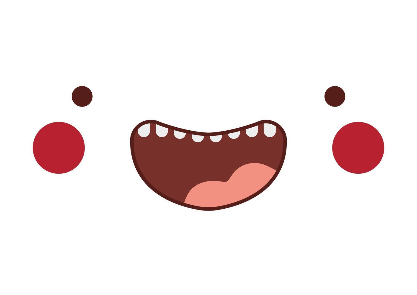 glückliches kawaii Karikaturgesicht mit Wangenentwurf vektor