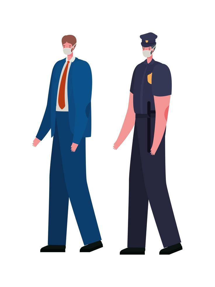 manlig polis och affärsman med masker vektordesign vektor