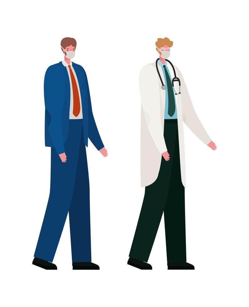 isolerad manlig läkare och affärsman med masker vektordesign vektor