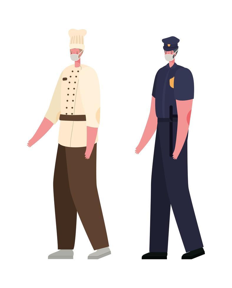 manlig kock och polis med masker vektordesign vektor