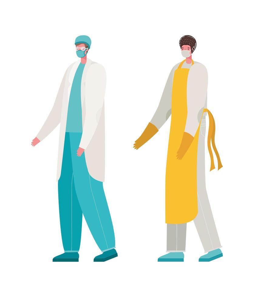 isolerad manlig läkare och laga mat med masker vektordesign vektor