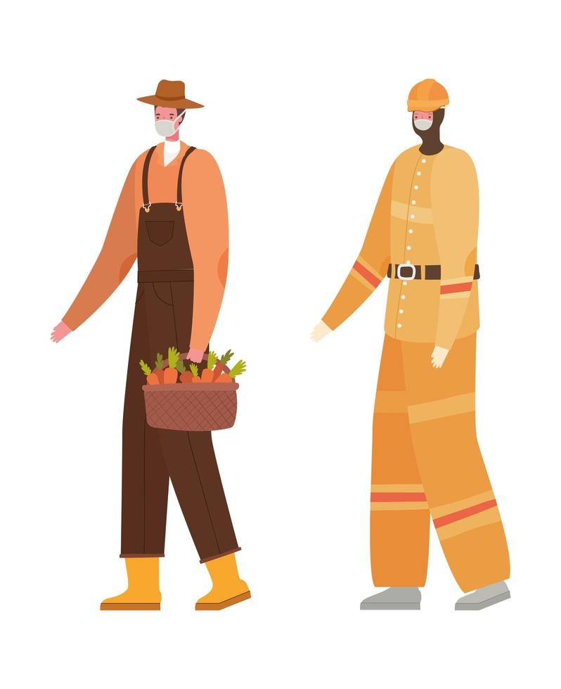 manlig trädgårdsmästare och konstruktör med masker vektordesign vektor