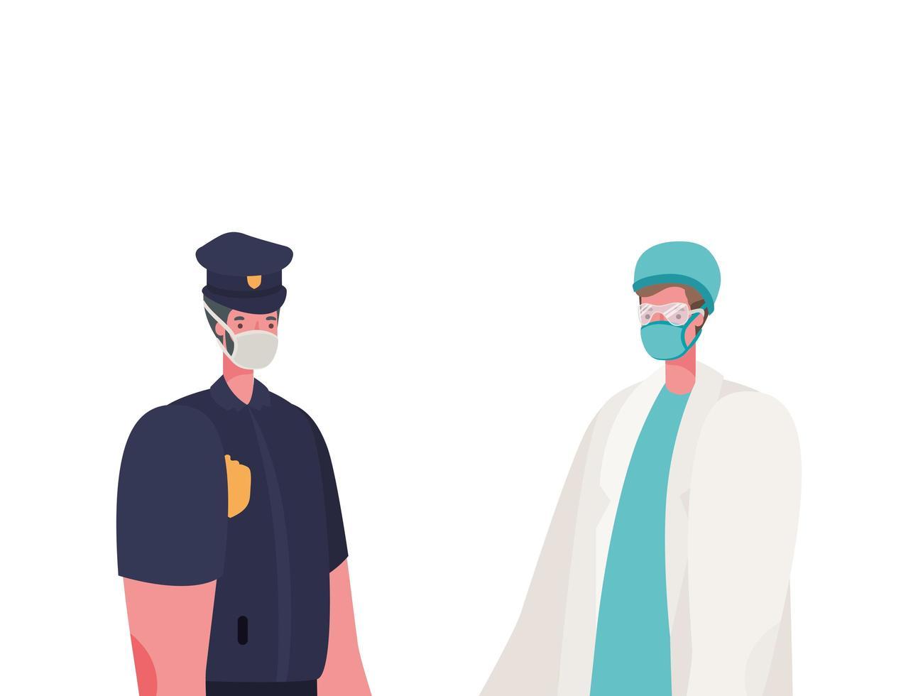 isolerad manlig läkare och polis man med masker vektor design