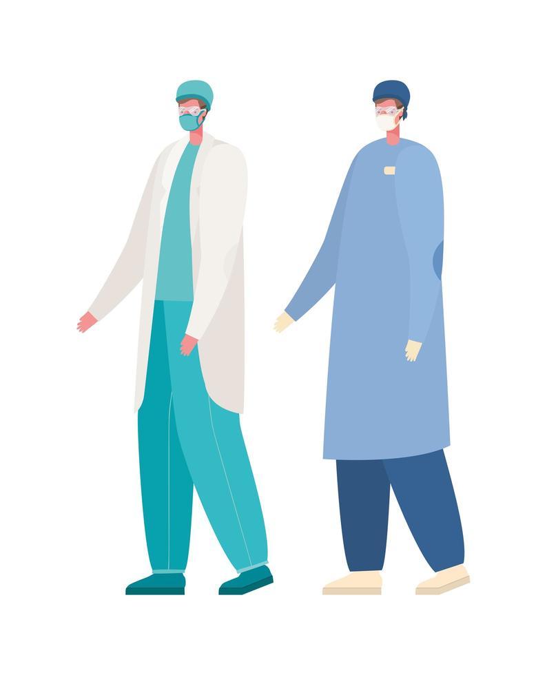 isolerade manliga läkare med masker vektordesign vektor