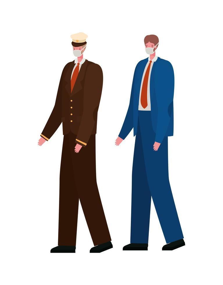 manlig kapten och affärsman med masker vektordesign vektor