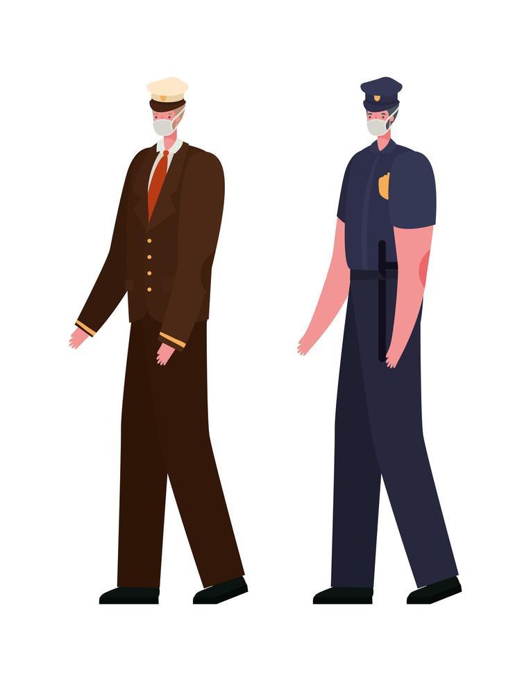 manlig kapten och polis med masker vektordesign vektor
