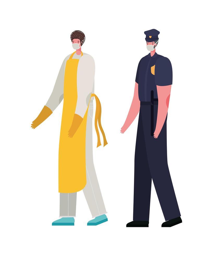 manlig kock och polis man med masker vektordesign vektor