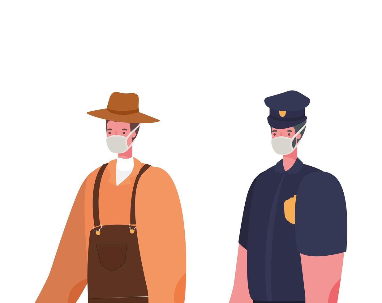manlig trädgårdsmästare och polis med masker vektordesign vektor