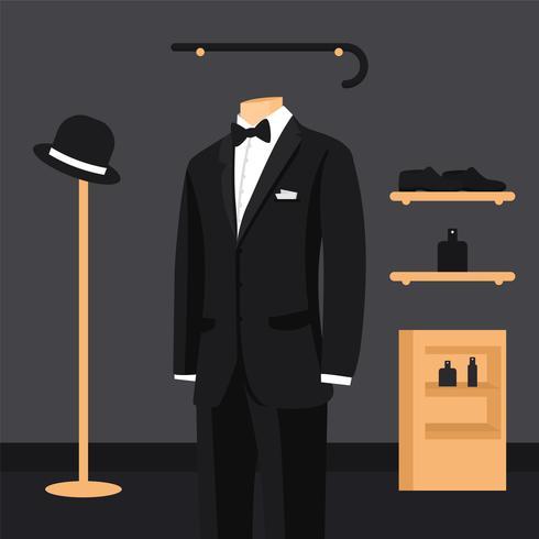 Svart kostym och vit skjorta med fjäril och slips på mannequins vektor