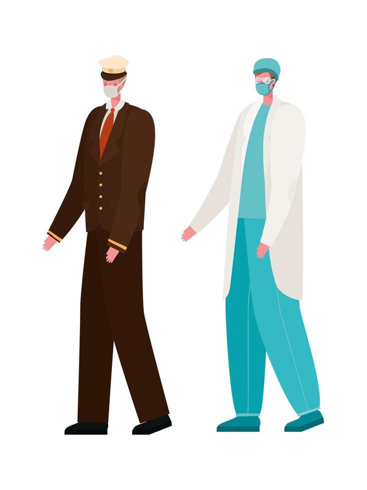 isolerad manlig läkare och kapten med masker vektordesign vektor