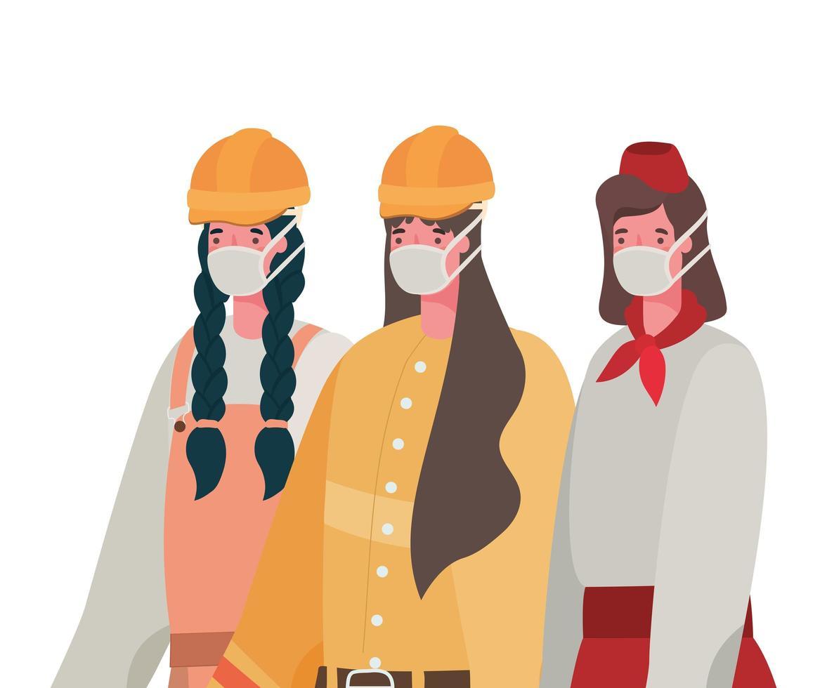 kvinnliga konstruktörer och servitrisen med masker vektordesign vektor