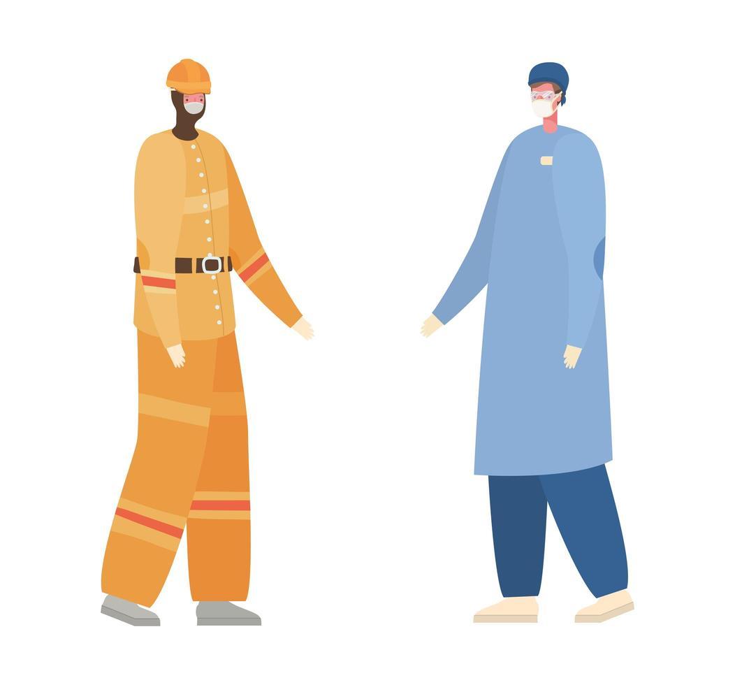 isolerad manlig läkare och konstruktör med masker vektordesign vektor