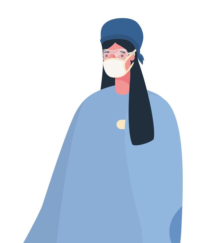 kvinnlig läkare med maskvektordesign vektor