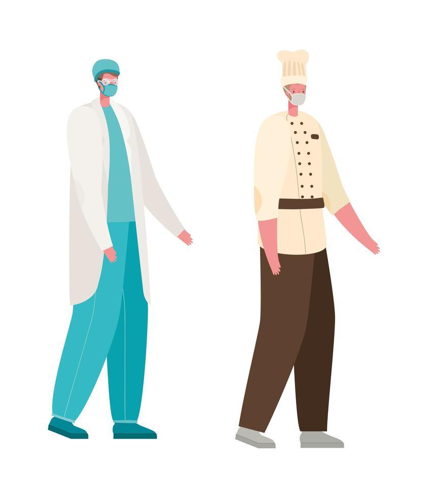 isolerad manlig läkare och kock med masker vektordesign vektor