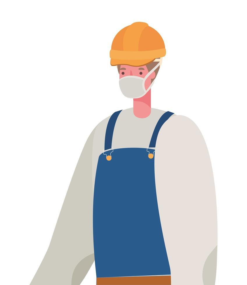 männlicher Konstrukteur mit Maskenvektordesign vektor