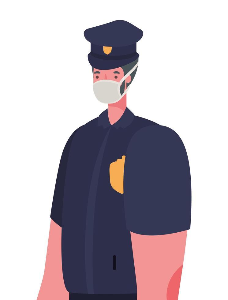 manlig polis med maskvektordesign vektor