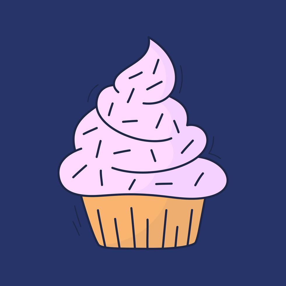 Cartoon-Kuchen im Vektor. handgezeichnetes Dessert im Vintage-Stil. Kappenkuchen mit Sahne. süßes Essen lokalisiert auf Hintergrund. Illustration Line Art farbige Version. Gekritzel vektor