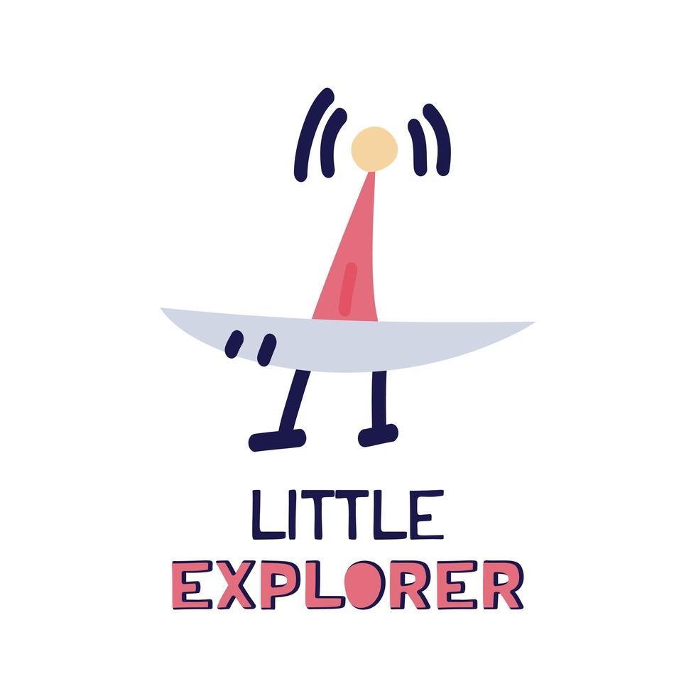 Karikatur flacher Satellit, der mit Sternenhimmel hochfliegt. flache Vektorillustration mit kleinem Entdecker des Textes auf weißem Hintergrund. vektor
