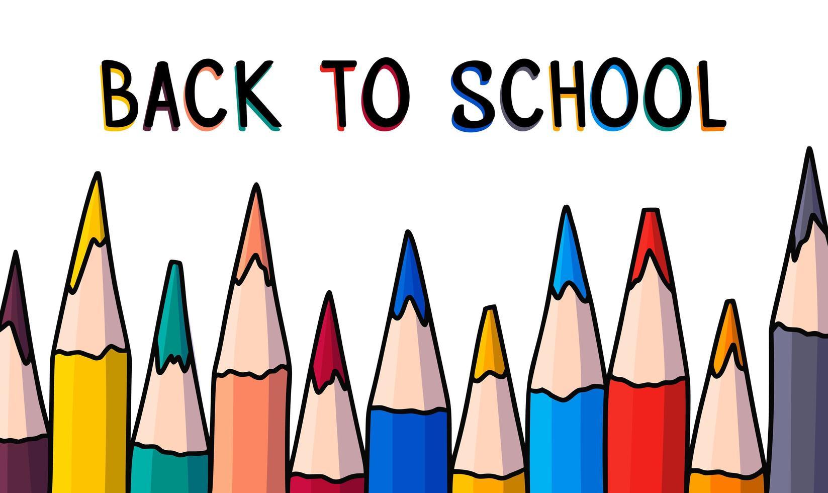 doodle penna banner. tillbaka till skolan handritad vektorillustration med färgpennor. vektor