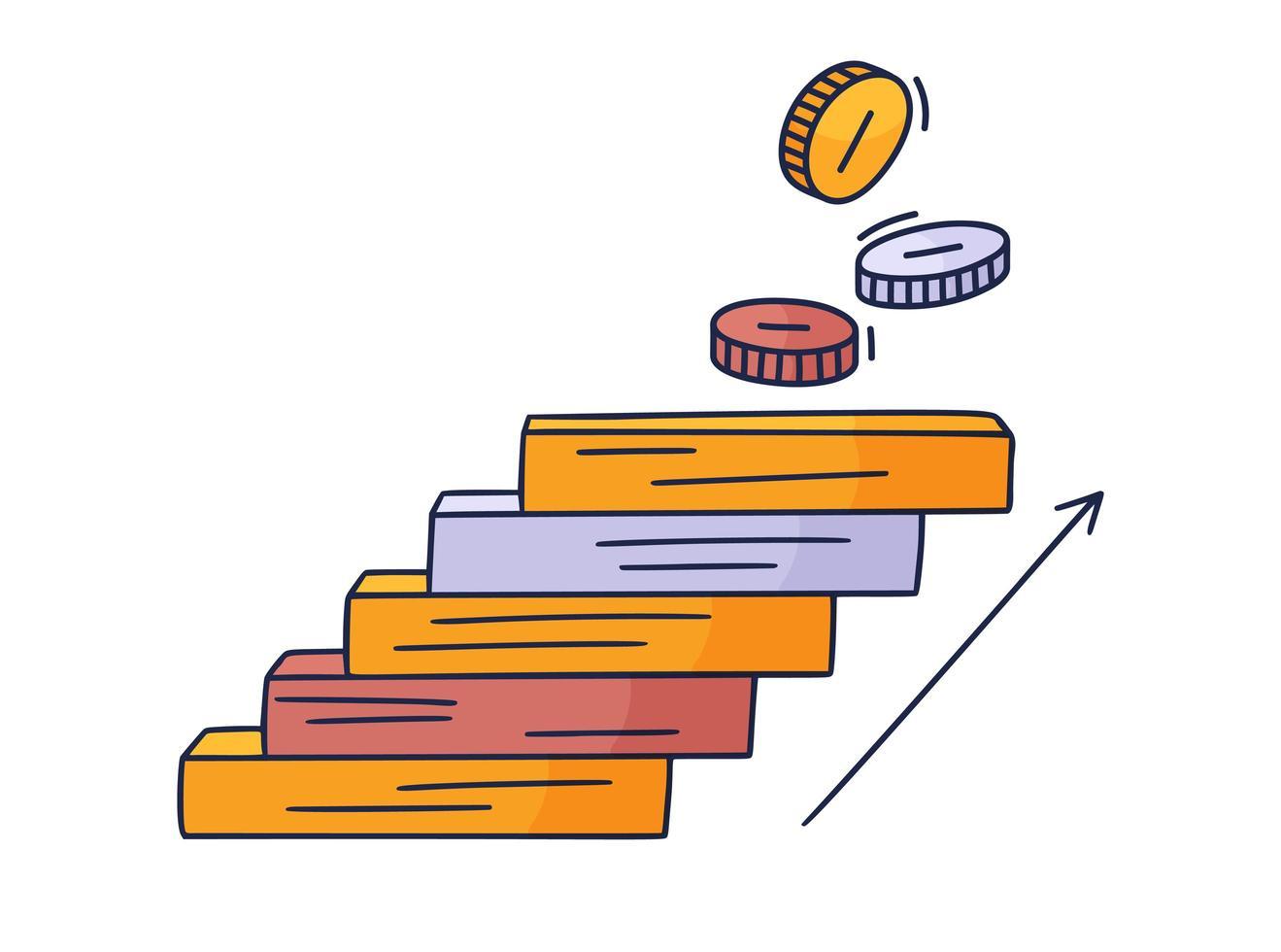 tritt an die Münze. Vektor Gekritzelillustration gezeichnet von Hand mit Stufen oder Treppen, auf denen ein Symbol der Geldmünze ist. der Weg zum Erfolg und zum Erreichen von Zielen