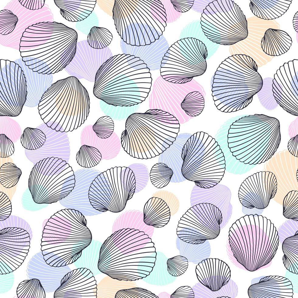 nahtloses Schalenmuster. Vektorillustration von handgezeichneten Muscheln im Gekritzelstil. Stranddesign. vektor