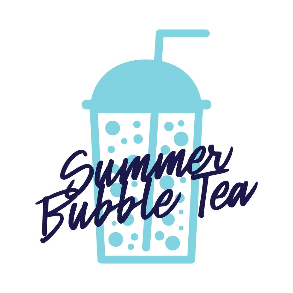bubbla te i plastglas platt vektor ikon isolerad på vit bakgrund. sommartevektormall för logotypdesign, banner, affisch, flygblad, klistermärke, drinkmeny för bar, café, restaurang.