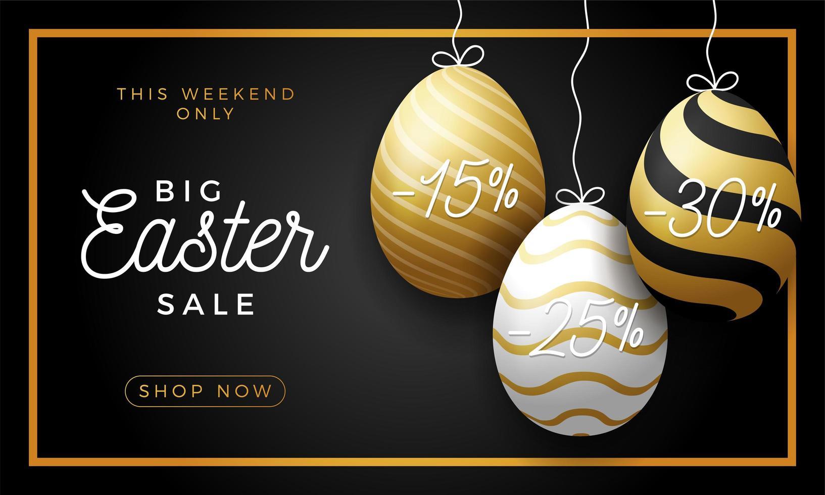 lyxig påskäggsförsäljning horisontell banner. gyllene påsk ram kort med realistiska ägg som hänger på en tråd, guld utsmyckade ägg på svart modern bakgrund. vektor illustration