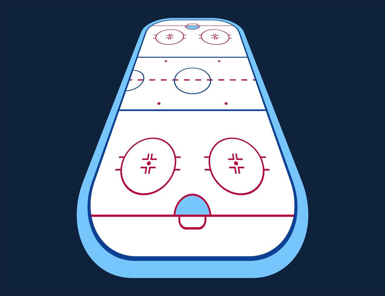 perspektivischer Vektor der Eishockeybahn. Texturen blaues Eis. Eisbahn. Draufsicht. Vektor-Illustration Hintergrund.
