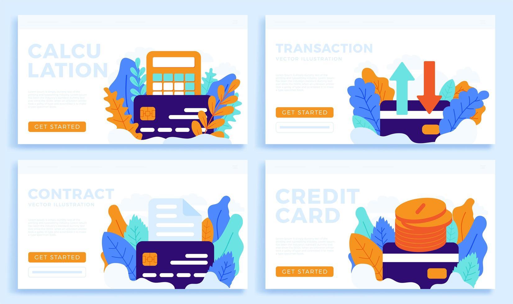 ställa in kreditkortsvektor stockillustration isolerad på en vit bakgrund för målsida eller presentation. miniräknare, överföring, dokument och pengar mynt vektor