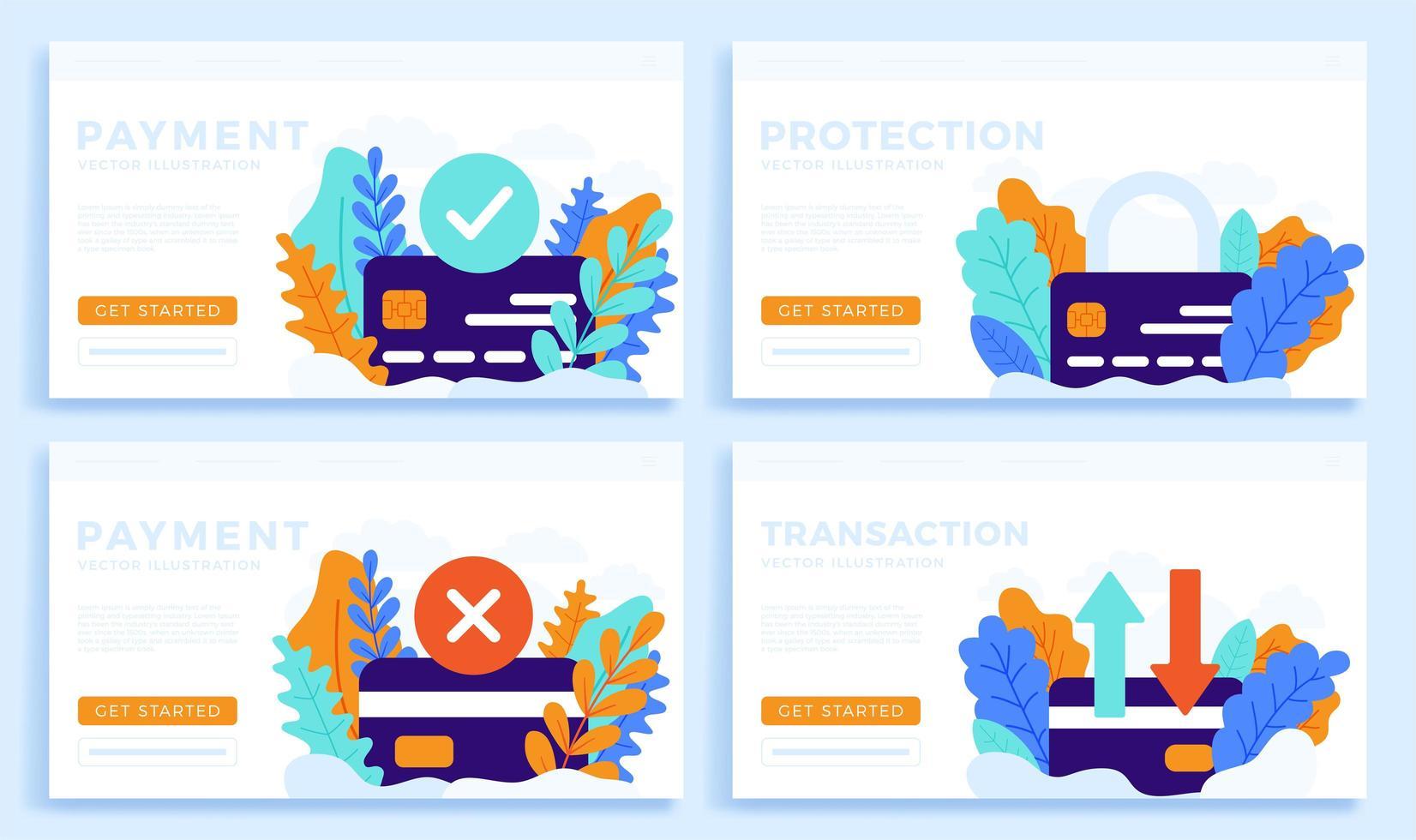 ställa in kreditkortsvektorillustration för målsida eller presentation. accepterad betalning, avvisad betalning, överföring och skydd vektor