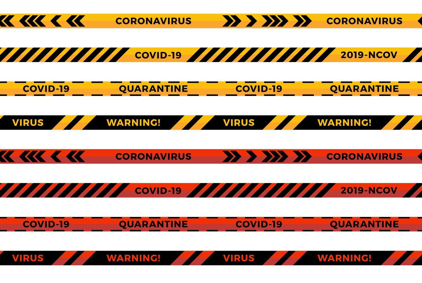 Warnstreifen. Coronavirus Warnung nahtlose Streifen. covid-19 Zeichen. Quarantäne-Biogefährdungssymbol. Warnliniensammlung schwarze, rote und gelbe Farbe, lokalisiert auf weißem Hintergrund. Vektor
