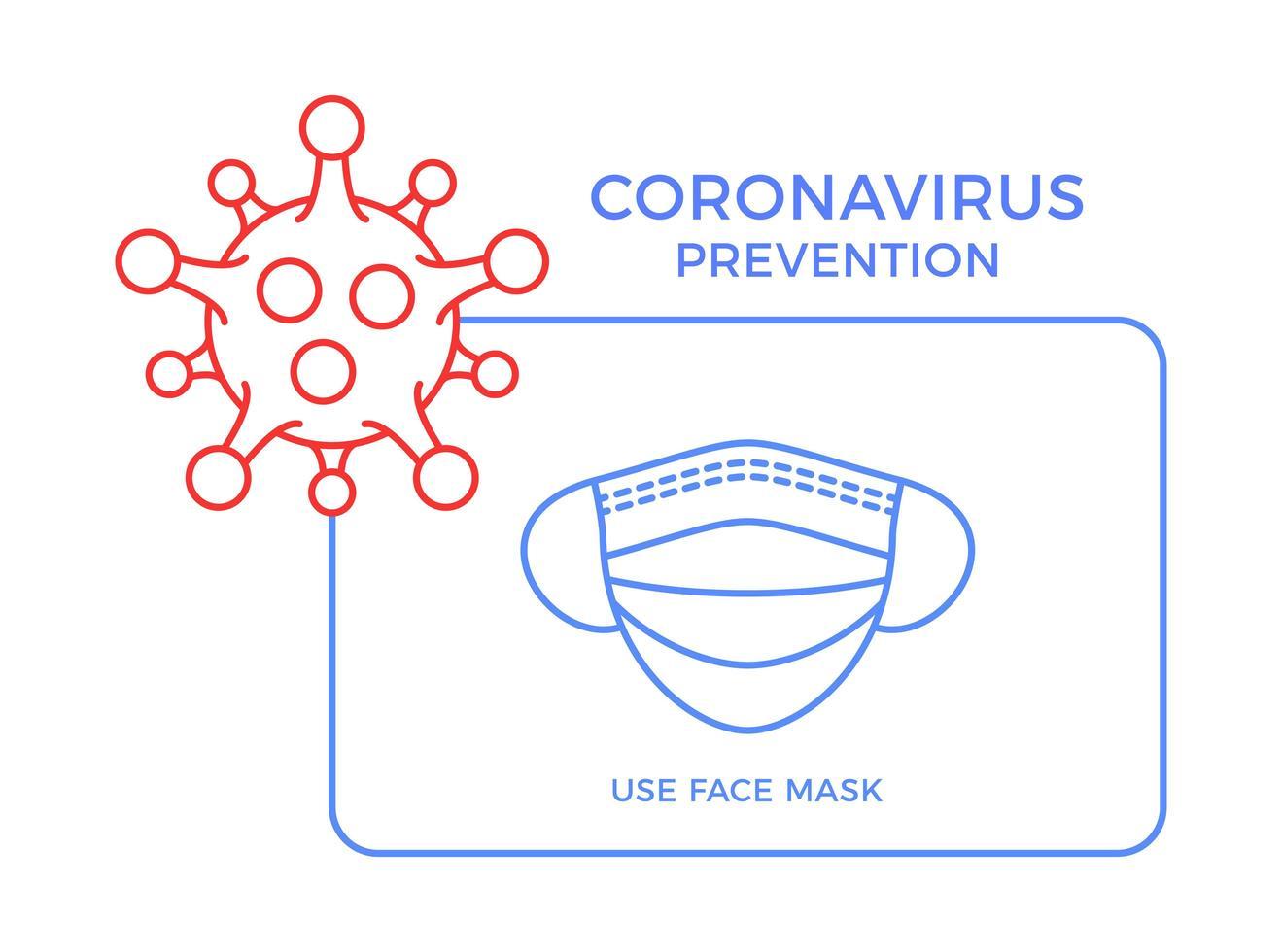 Banner Gesichtsmaske Symbol Prävention Coronavirus. Konzeptschutz covid-19 Zeichenvektorillustration. Hintergrund des Covid-19-Präventionsdesigns. vektor