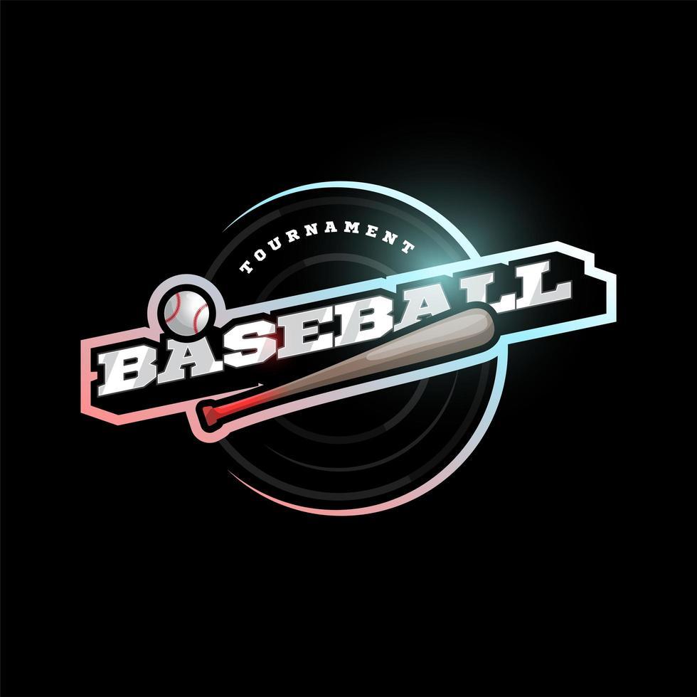 Baseball Vektor moderne professionelle Sport Typografie Logo im Retro-Stil. Vektor-Design Emblem, Abzeichen und sportliche Vorlage Logo-Design