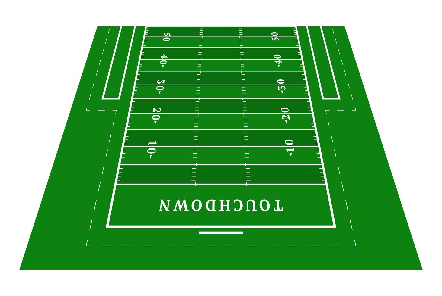 perspektiv grön amerikansk fotboll halvfält. vy framifrån. rugby fält med linjemall. vektor illustration stadion.