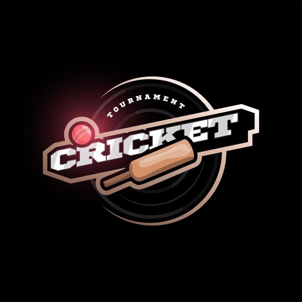 moderne professionelle Typografie Cricket Sport Superheld Stil Vektor Emblem und Vorlage Logo Design mit Ball. lustige Grüße für Kleidung, Karte, Abzeichen, Symbol, Postkarte, Banner, Etikett, Aufkleber, Druck.