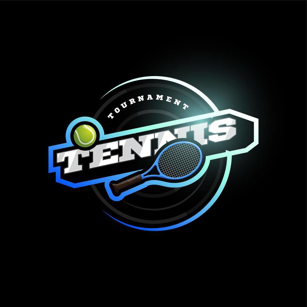 tennis vektor modern professionell sport typografi logotyp i retrostil. vektor design emblem, badge och sportig mall logo design