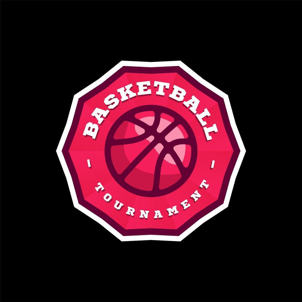 vektor basket liga logotyp med boll. rosa färg sport märke för turnering mästerskap eller liga