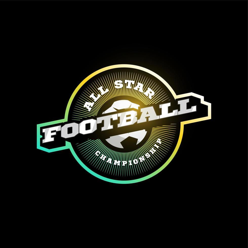 Fußball oder Fußball moderne Profisport Typografie im Retro-Stil. Vektor-Design Emblem, Abzeichen und sportliche Vorlage Logo-Design vektor