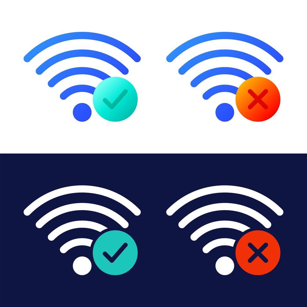 Vektorsymbolsatz von drahtlosen Wifi-Symbolen mit Häkchen und x-Zeichen. vektor