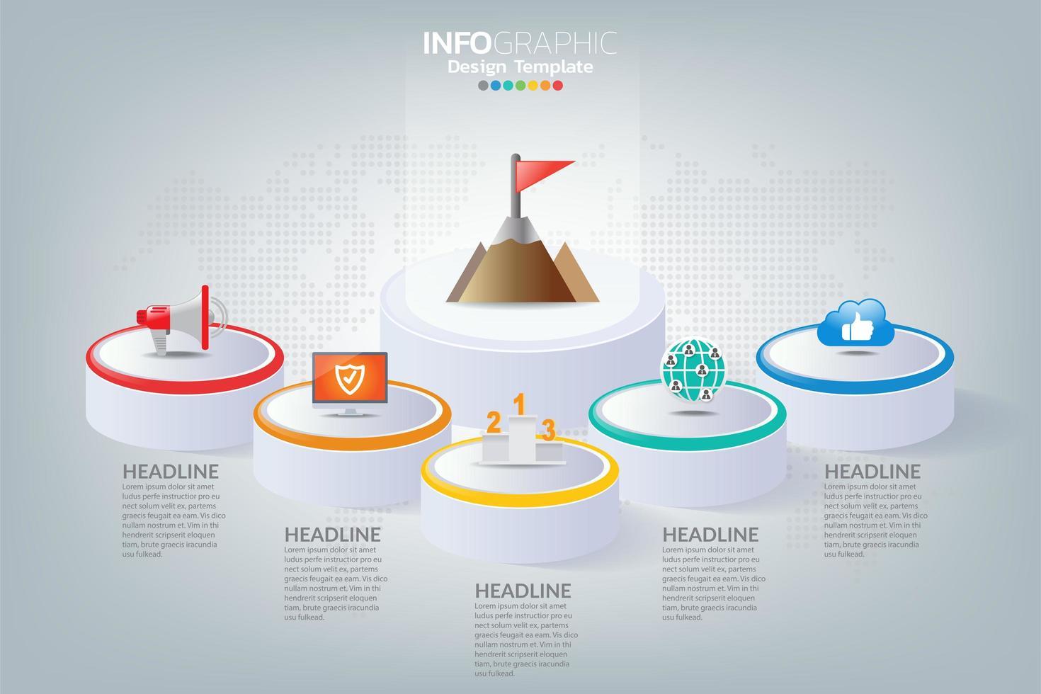 Business Infografik Timeline, wie man mit Optionen und Symbolen zum Erfolg führt. vektor