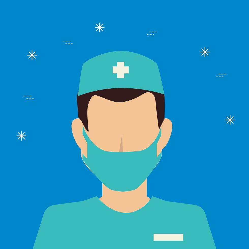 manlig sjukvårdare med ansiktsmask avatar vektor